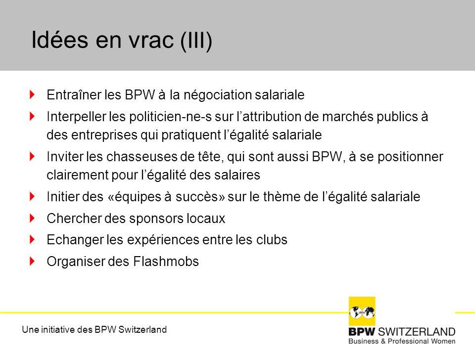 Idées en vrac (III) Entraîner les BPW à la négociation salariale Interpeller les politicien-ne-s sur lattribution de marchés publics à des entreprises qui pratiquent légalité salariale Inviter les chasseuses de tête, qui sont aussi BPW, à se positionner clairement pour légalité des salaires Initier des «équipes à succès» sur le thème de légalité salariale Chercher des sponsors locaux Echanger les expériences entre les clubs Organiser des Flashmobs Une initiative des BPW Switzerland
