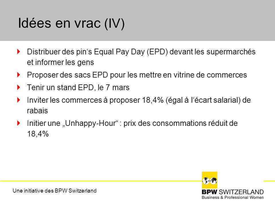 Idées en vrac (IV) Distribuer des pins Equal Pay Day (EPD) devant les supermarchés et informer les gens Proposer des sacs EPD pour les mettre en vitrine de commerces Tenir un stand EPD, le 7 mars Inviter les commerces à proposer 18,4% (égal à lécart salarial) de rabais Initier une Unhappy-Hour : prix des consommations réduit de 18,4% Une initiative des BPW Switzerland