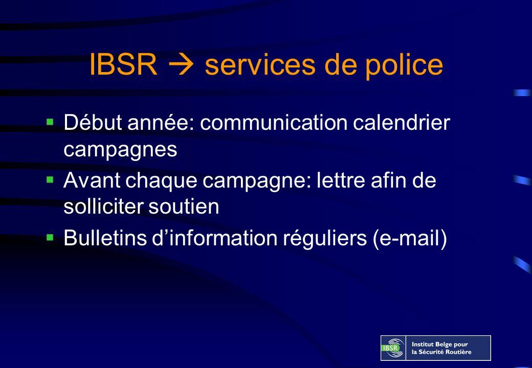 IBSR services de police Début année: communication calendrier campagnes Avant chaque campagne: lettre afin de solliciter soutien Bulletins dinformation réguliers (e-mail)