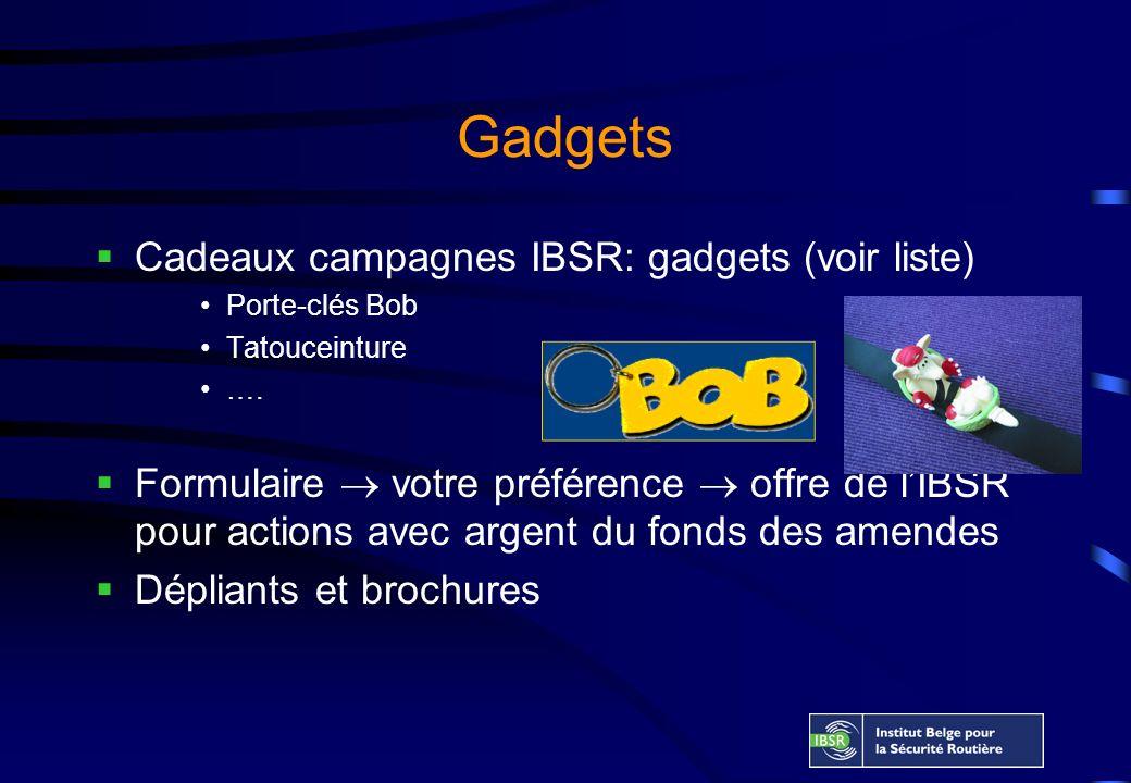 Gadgets Cadeaux campagnes IBSR: gadgets (voir liste) Porte-clés Bob Tatouceinture ….