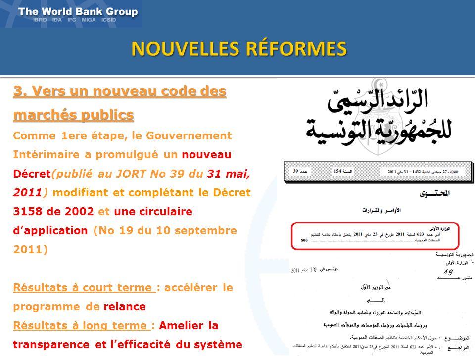 3 3. Vers un nouveau code des marchés publics Comme 1ere étape, le Gouvernement Intérimaire a promulgué un nouveau Décret(publié au JORT No 39 du 31 m