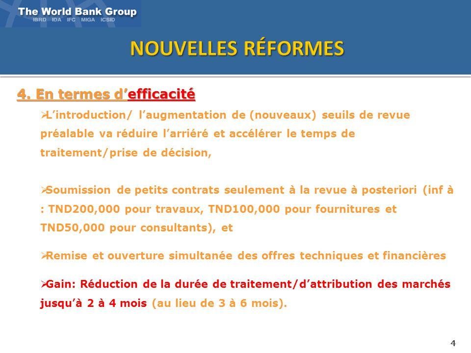 4 4. En termes defficacité Lintroduction/ laugmentation de (nouveaux) seuils de revue préalable va réduire larriéré et accélérer le temps de traitemen