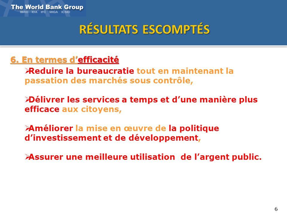 6 6. En termes defficacité Reduire la bureaucratie tout en maintenant la passation des marchés sous contrôle, Délivrer les services a temps et dune ma