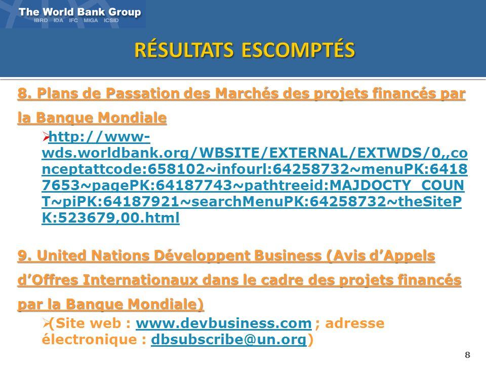 8 8. Plans de Passation des Marchés des projets financés par la Banque Mondiale http://www- wds.worldbank.org/WBSITE/EXTERNAL/EXTWDS/0,,co nceptattcod