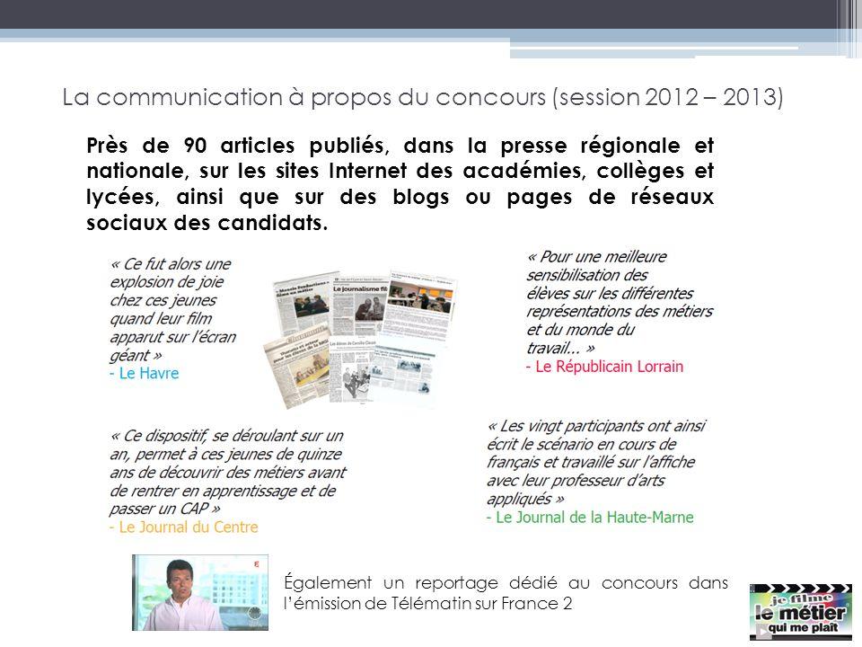 La communication à propos du concours (session 2012 – 2013) Près de 90 articles publiés, dans la presse régionale et nationale, sur les sites Internet