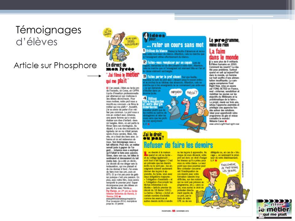 Témoignages délèves Article sur Phosphore