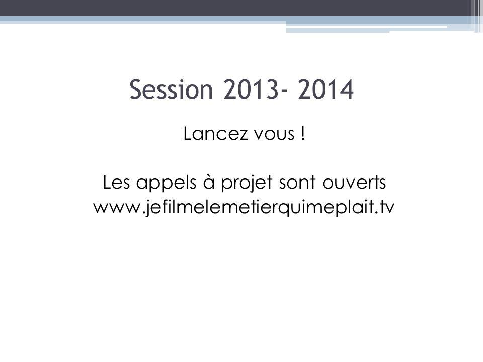 Session 2013- 2014 Lancez vous ! Les appels à projet sont ouverts www.jefilmelemetierquimeplait.tv