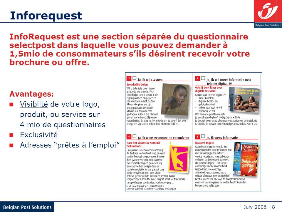 July 2006 - 8 Inforequest InfoRequest est une section séparée du questionnaire selectpost dans laquelle vous pouvez demander à 1,5mio de consommateurs sils désirent recevoir votre brochure ou offre.