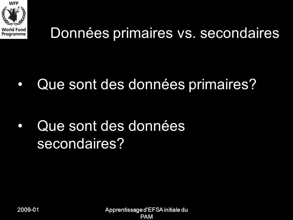 2009-01Apprentissage d EFSA initiale du PAM Données primaires vs.