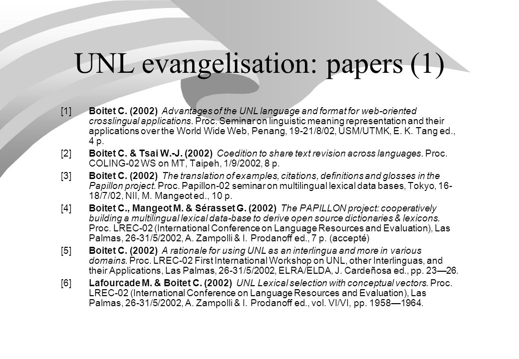 UNL evangelisation: papers (1) [1]Boitet C.