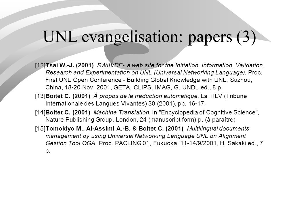 UNL evangelisation: papers (3) [12]Tsai W.-J.