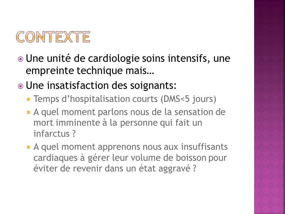 Une unité de cardiologie soins intensifs, une empreinte technique mais… Une insatisfaction des soignants: Temps dhospitalisation courts (DMS<5 jours)