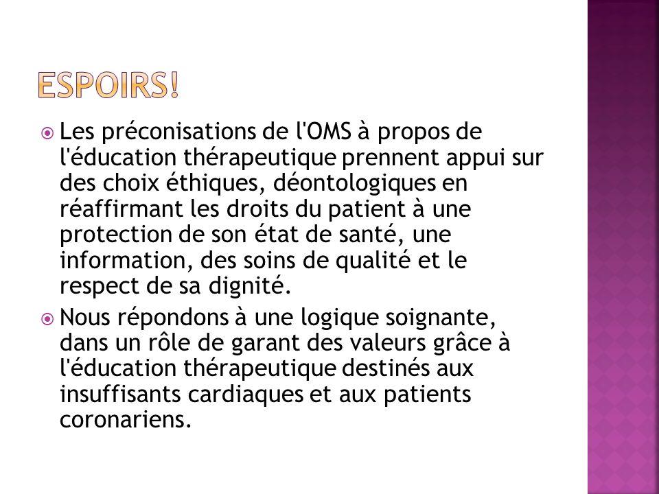 Les préconisations de l'OMS à propos de l'éducation thérapeutique prennent appui sur des choix éthiques, déontologiques en réaffirmant les droits du p