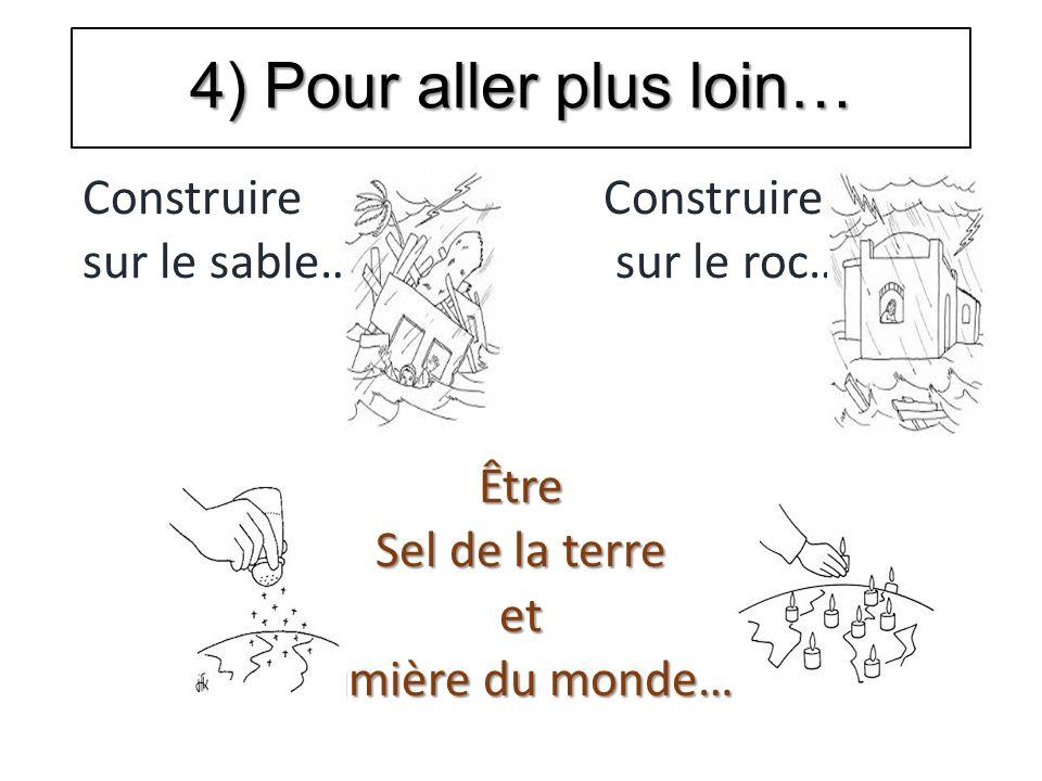 4) Pour aller plus loin… Construire sur le sable… sur le roc…Être Sel de la terre et lumière du monde…