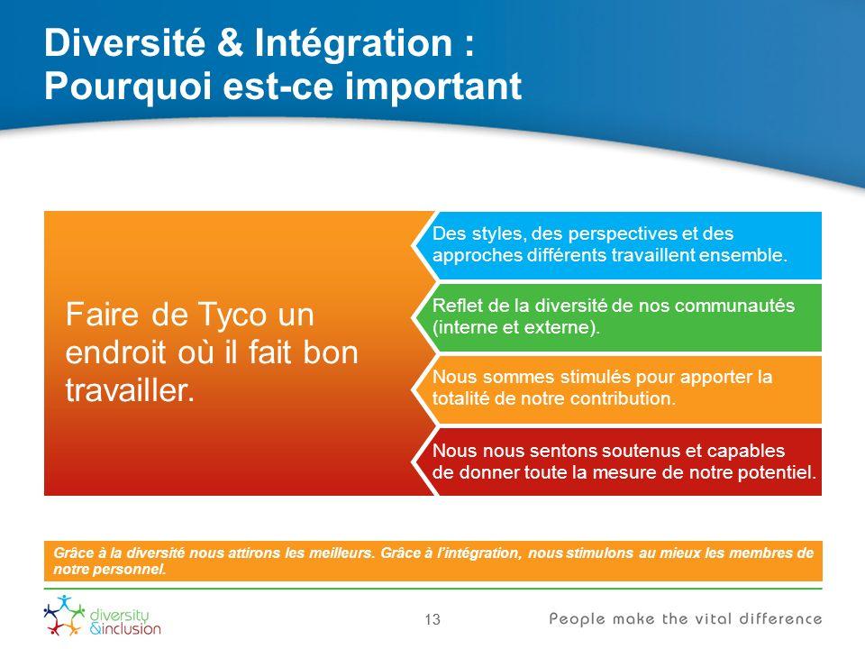 13 Diversité & Intégration : Pourquoi est-ce important 13 Grâce à la diversité nous attirons les meilleurs.