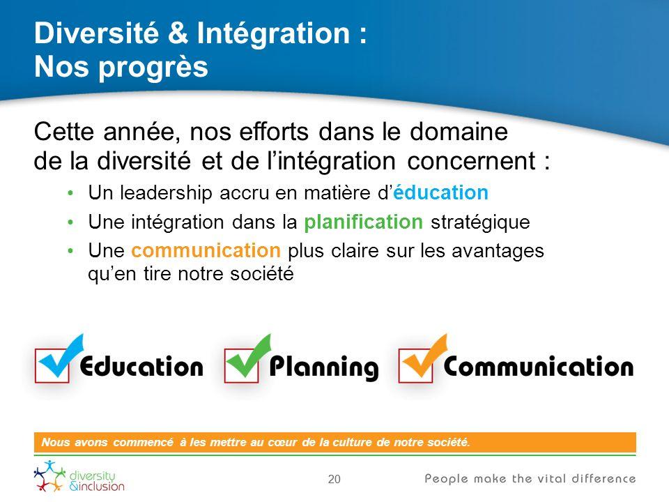 20 Diversité & Intégration : Nos progrès 20 Nous avons commencé à les mettre au cœur de la culture de notre société.