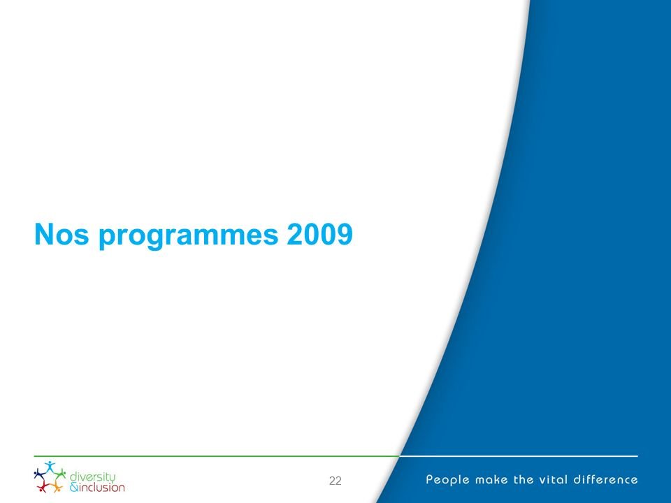 22 Nos programmes 2009