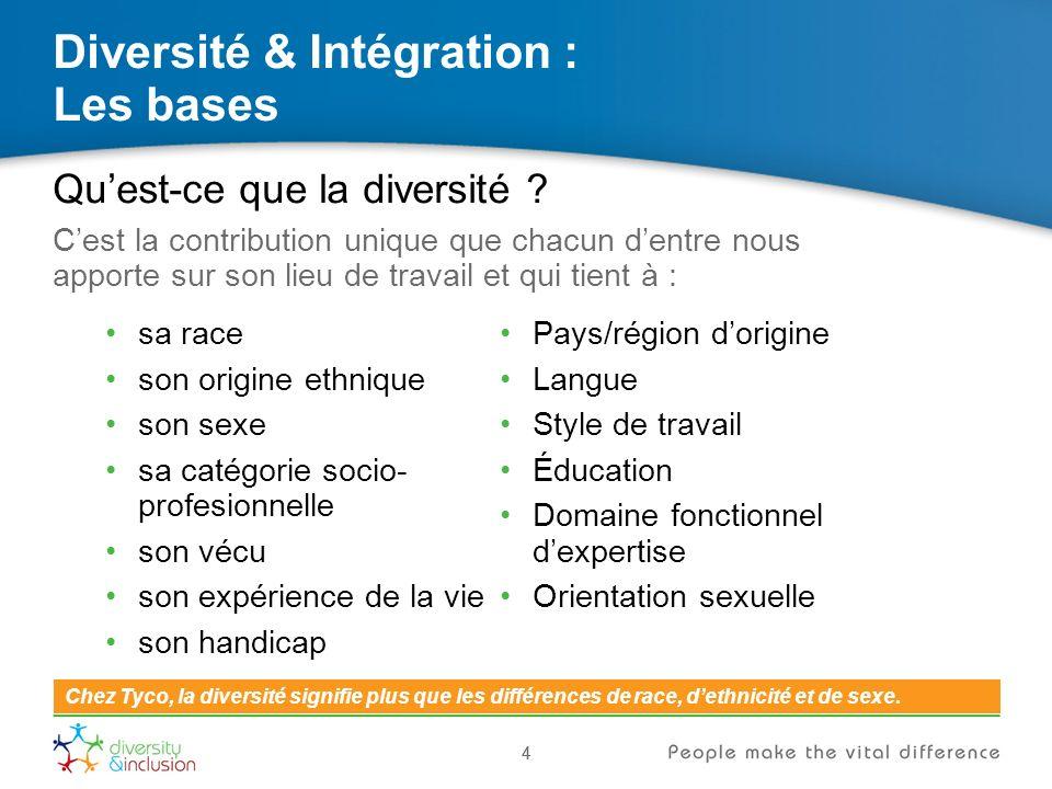 15 Diversité & Intégration : Les clés du succès 15 Diversité et intégration sont essentielles pour parvenir à la construction déquipes plus solides et pour atteindre nos objectifs.