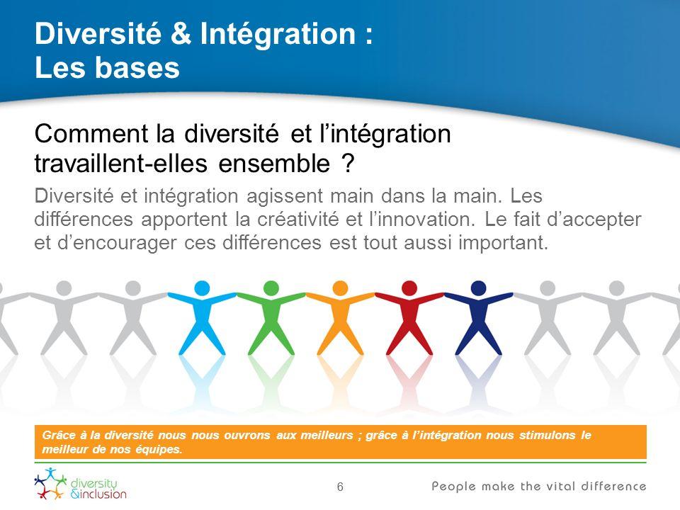 27 Diversité & Intégration : Comment vous pouvez apporter votre aide 27 Nous pouvons faire une différence décisive en tirant le meilleur de nos différences.