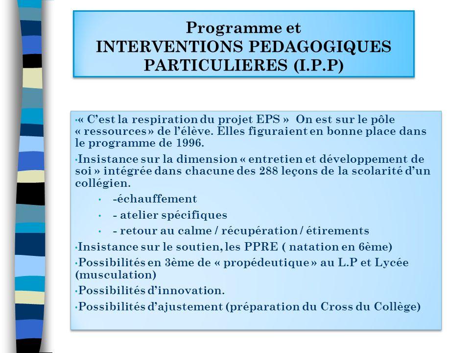 Programme et INTERVENTIONS PEDAGOGIQUES PARTICULIERES (I.P.P) Programme et INTERVENTIONS PEDAGOGIQUES PARTICULIERES (I.P.P) « Cest la respiration du p