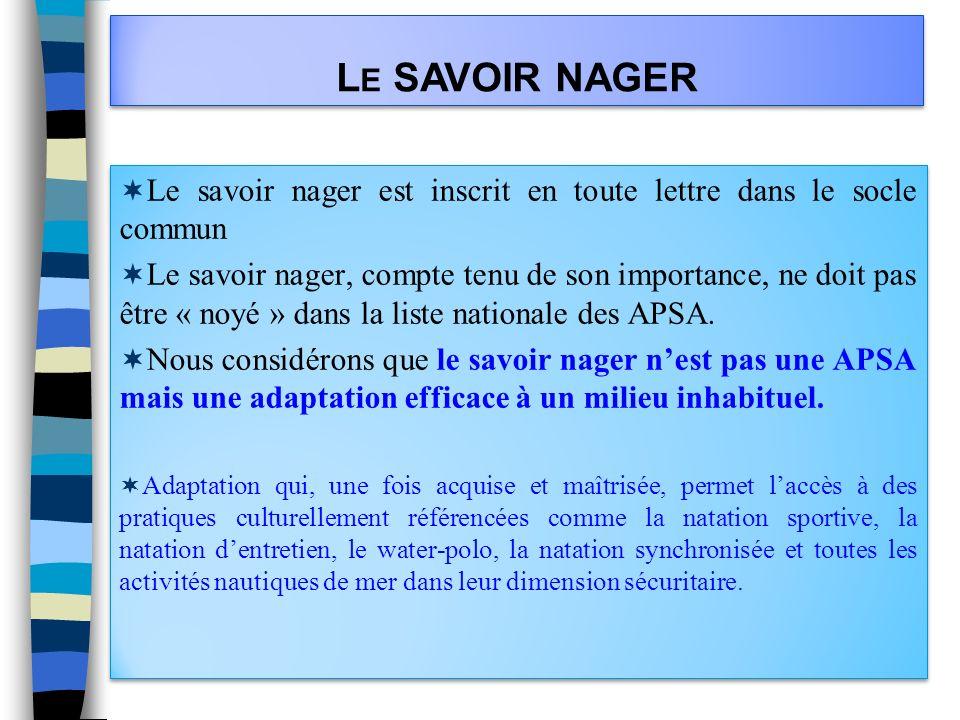 L E SAVOIR NAGER Le savoir nager est inscrit en toute lettre dans le socle commun Le savoir nager, compte tenu de son importance, ne doit pas être « n