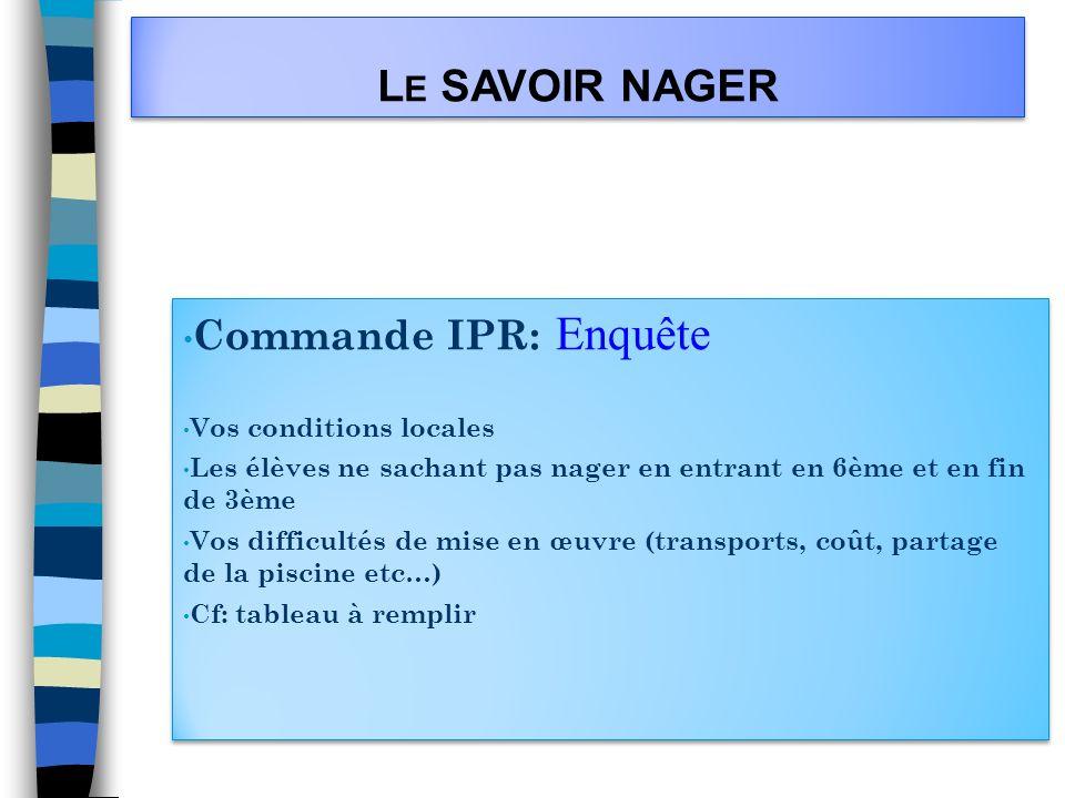 L E SAVOIR NAGER Commande IPR: Enquête Vos conditions locales Les élèves ne sachant pas nager en entrant en 6ème et en fin de 3ème Vos difficultés de