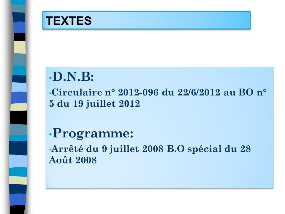 TEXTES D.N.B: Circulaire n° 2012-096 du 22/6/2012 au BO n° 5 du 19 juillet 2012 Programme: Arrêté du 9 juillet 2008 B.O spécial du 28 Août 2008 D.N.B: