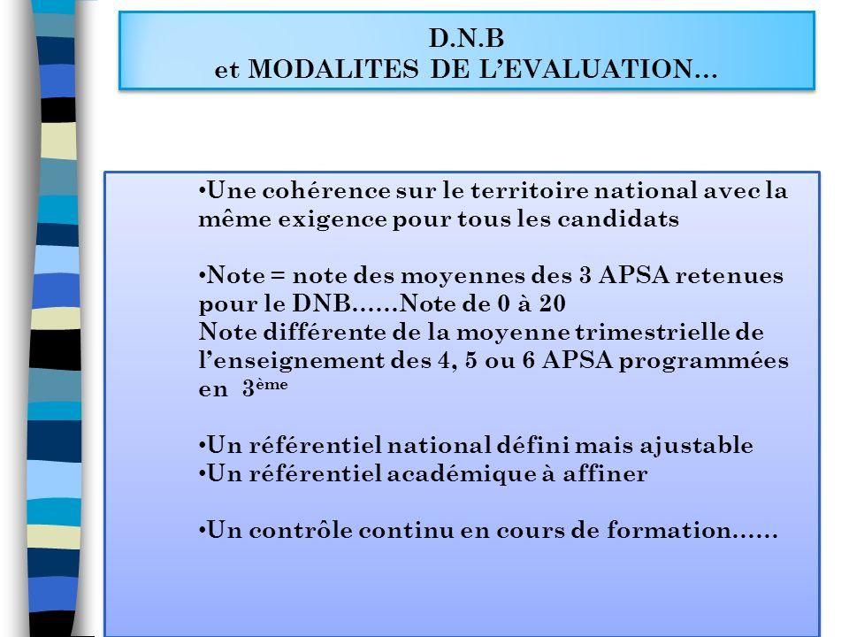 D.N.B et MODALITES DE LEVALUATION… Une cohérence sur le territoire national avec la même exigence pour tous les candidats Note = note des moyennes des