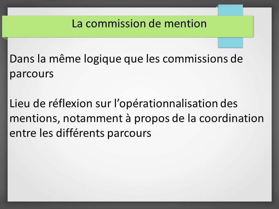 La commission de mention Dans la même logique que les commissions de parcours Lieu de réflexion sur lopérationnalisation des mentions, notamment à propos de la coordination entre les différents parcours