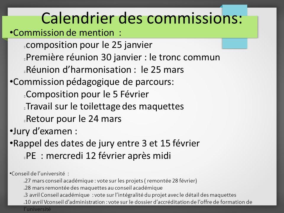 Calendrier des commissions: Commission de mention : composition pour le 25 janvier Première réunion 30 janvier : le tronc commun Réunion dharmonisatio