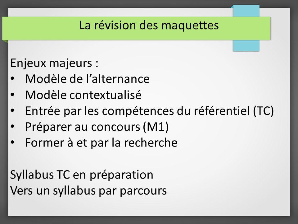 La révision des maquettes Enjeux majeurs : Modèle de lalternance Modèle contextualisé Entrée par les compétences du référentiel (TC) Préparer au conco
