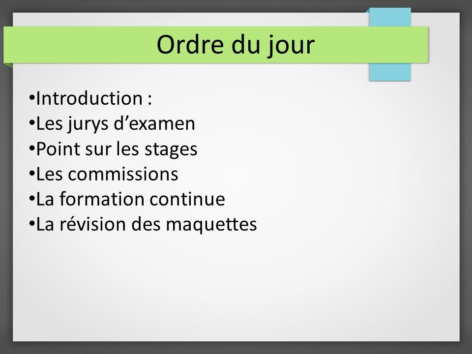Ordre du jour Introduction : Les jurys dexamen Point sur les stages Les commissions La formation continue La révision des maquettes