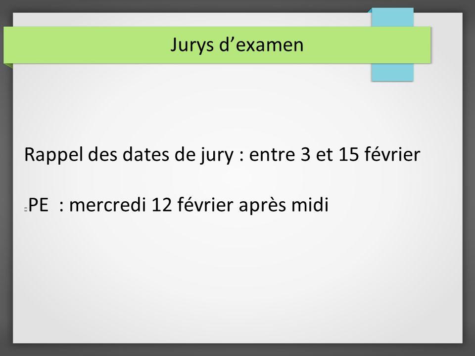 Jurys dexamen Rappel des dates de jury : entre 3 et 15 février PE : mercredi 12 février après midi