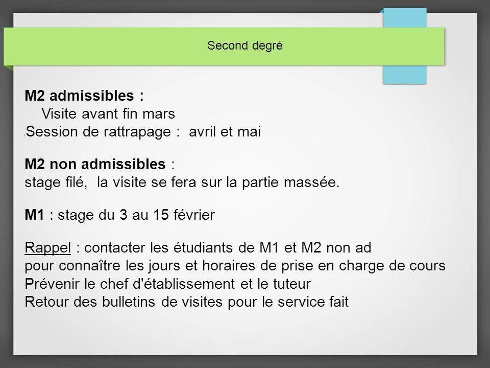 Second degré M2 admissibles : Visite avant fin mars Session de rattrapage : avril et mai M2 non admissibles : stage filé, la visite se fera sur la partie massée.