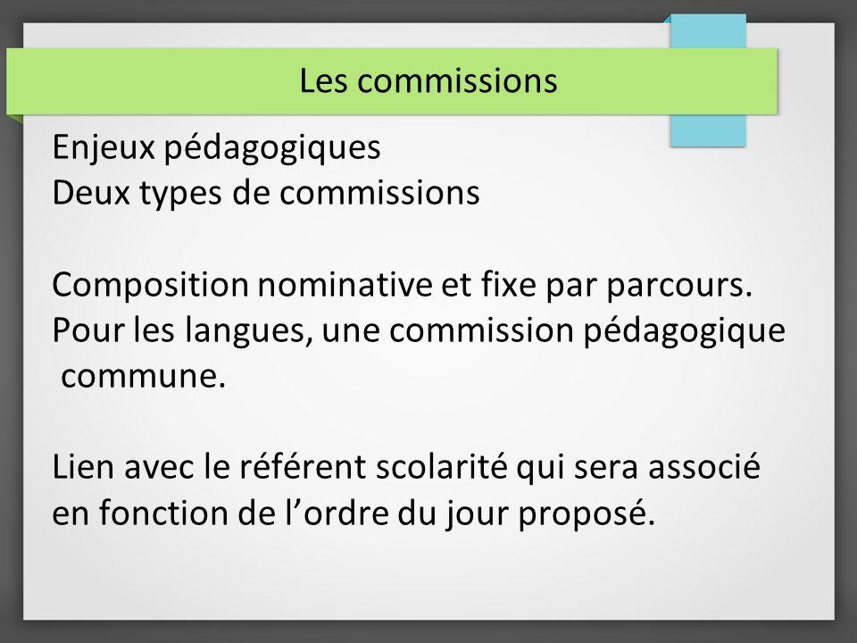 Les commissions Enjeux pédagogiques Deux types de commissions Composition nominative et fixe par parcours. Pour les langues, une commission pédagogiqu