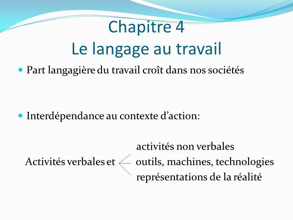 Chapitre 4 Le langage au travail Part langagière du travail croît dans nos sociétés Interdépendance au contexte daction: activités non verbales Activités verbales et outils, machines, technologies représentations de la réalité