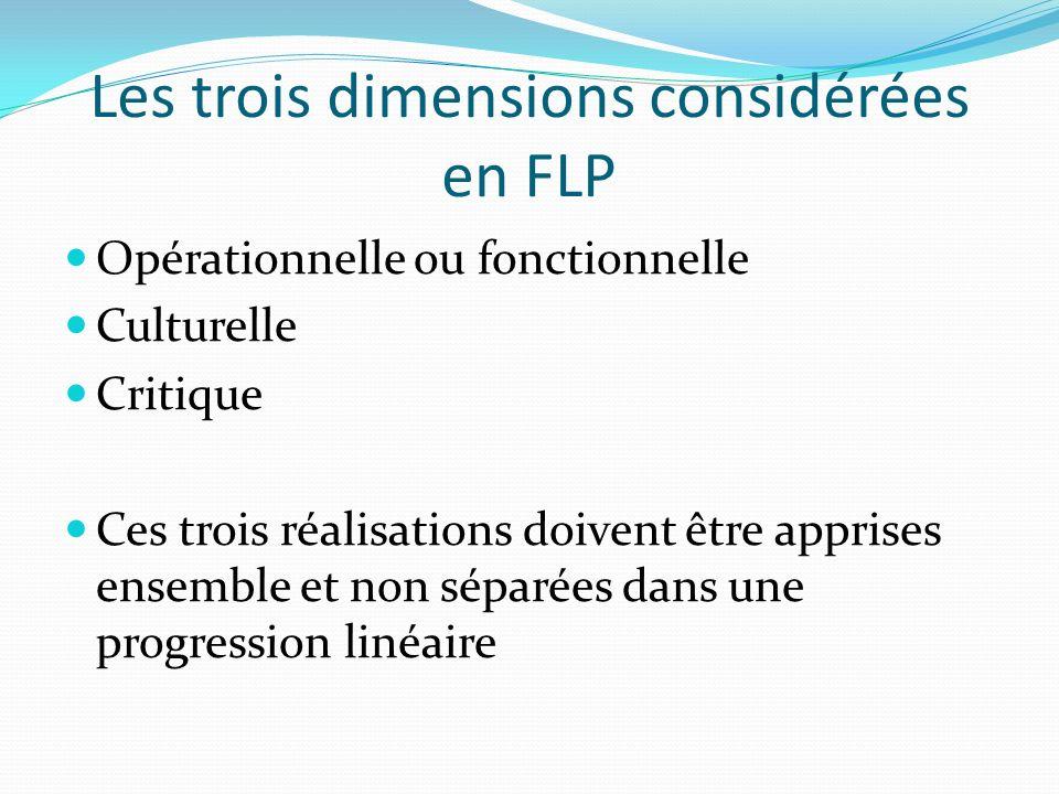 Les trois dimensions considérées en FLP Opérationnelle ou fonctionnelle Culturelle Critique Ces trois réalisations doivent être apprises ensemble et non séparées dans une progression linéaire