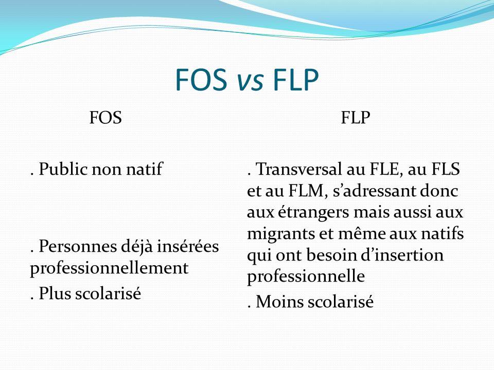 FOS vs FLP FOS. Public non natif. Personnes déjà insérées professionnellement.
