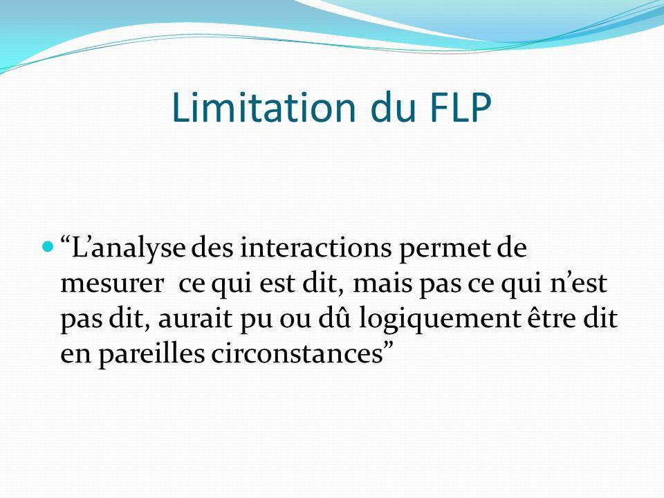 Limitation du FLP Lanalyse des interactions permet de mesurer ce qui est dit, mais pas ce qui nest pas dit, aurait pu ou dû logiquement être dit en pareilles circonstances