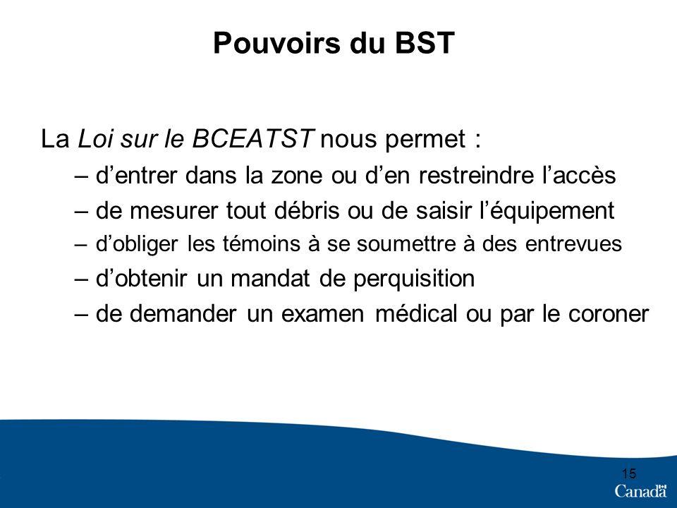 Pouvoirs du BST La Loi sur le BCEATST nous permet : –dentrer dans la zone ou den restreindre laccès –de mesurer tout débris ou de saisir léquipement –dobliger les témoins à se soumettre à des entrevues –dobtenir un mandat de perquisition –de demander un examen médical ou par le coroner 15