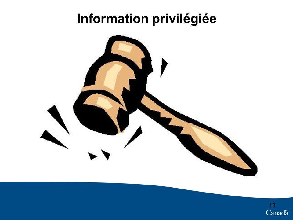 Information privilégiée 18