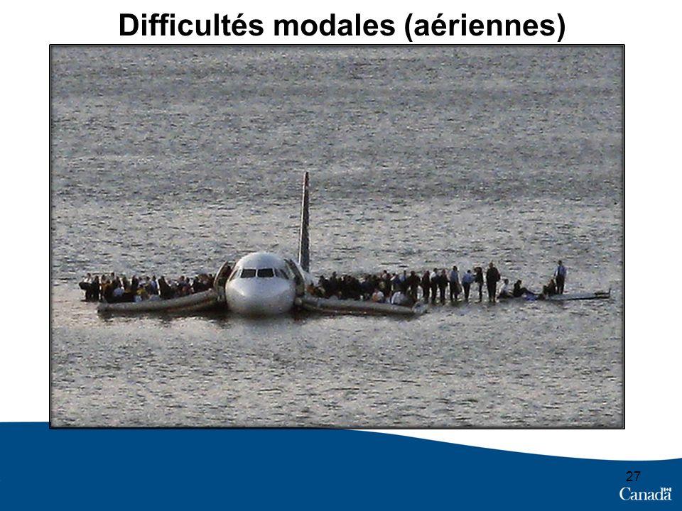 Difficultés modales (aériennes) 27