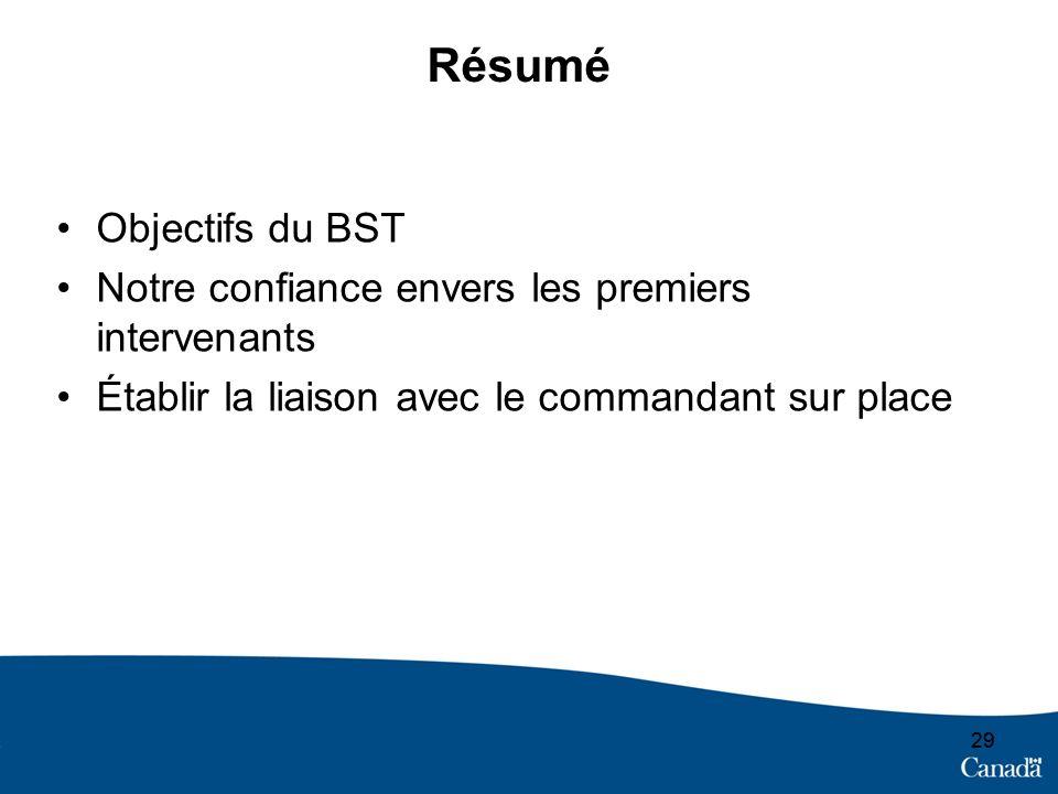 29 Résumé Objectifs du BST Notre confiance envers les premiers intervenants Établir la liaison avec le commandant sur place
