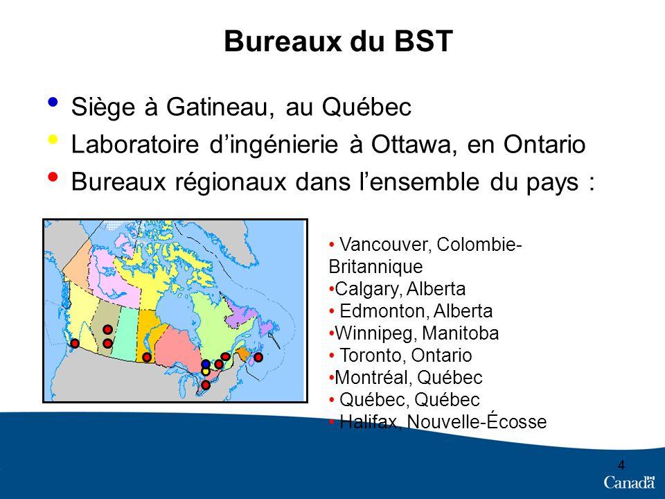 4 Bureaux du BST Siège à Gatineau, au Québec Laboratoire dingénierie à Ottawa, en Ontario Bureaux régionaux dans lensemble du pays : 4 Vancouver, Colombie- Britannique Calgary, Alberta Edmonton, Alberta Winnipeg, Manitoba Toronto, Ontario Montréal, Québec Québec, Québec Halifax, Nouvelle-Écosse