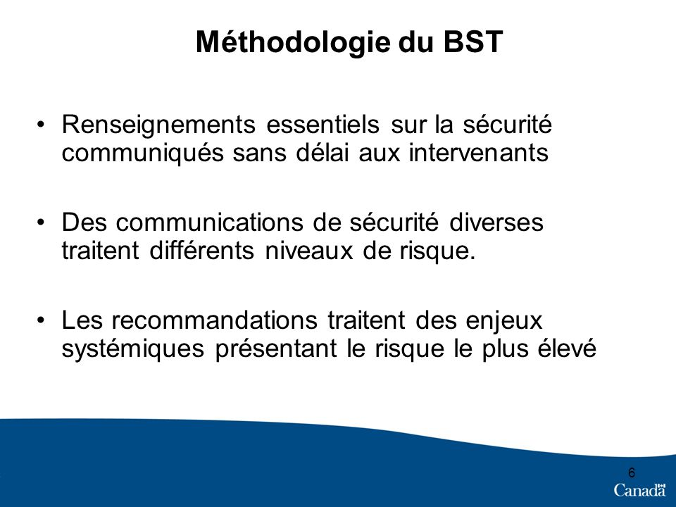 6 Méthodologie du BST Renseignements essentiels sur la sécurité communiqués sans délai aux intervenants Des communications de sécurité diverses traitent différents niveaux de risque.