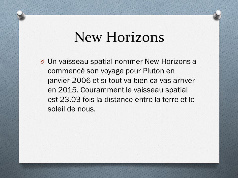 New Horizons O Un vaisseau spatial nommer New Horizons a commencé son voyage pour Pluton en janvier 2006 et si tout va bien ca vas arriver en 2015. Co
