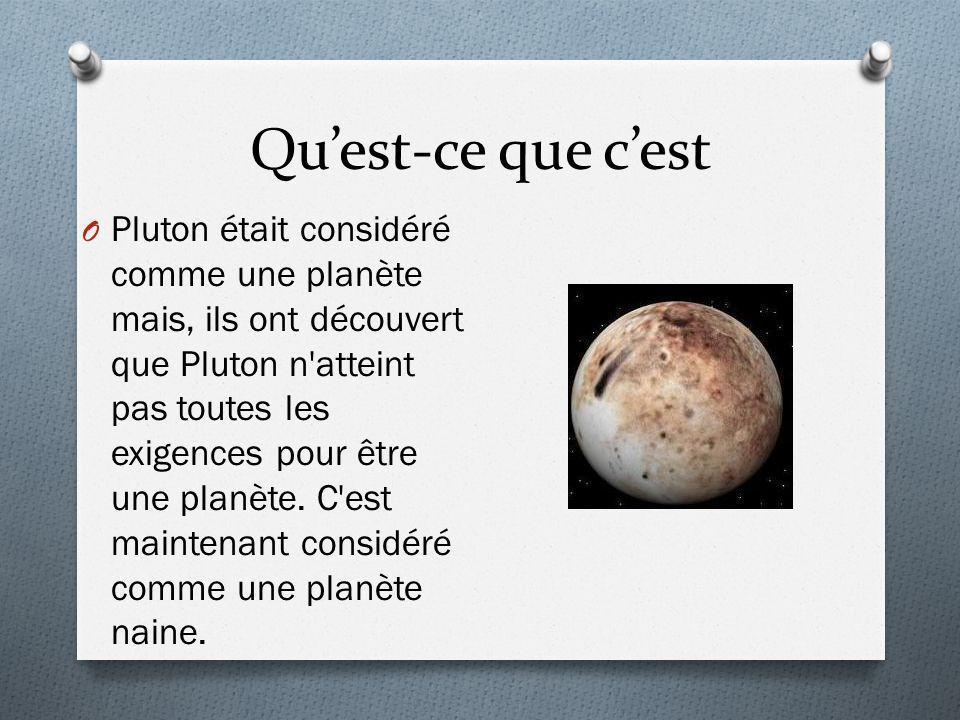Quest-ce que cest O Pluton était considéré comme une planète mais, ils ont découvert que Pluton n'atteint pas toutes les exigences pour être une planè