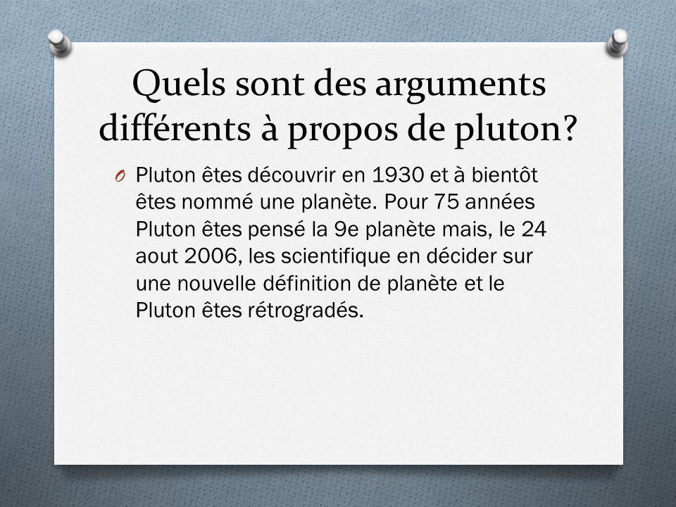 Quels sont des arguments différents à propos de pluton? O Pluton êtes découvrir en 1930 et à bientôt êtes nommé une planète. Pour 75 années Pluton ête