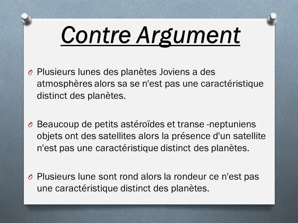 Contre Argument O Plusieurs lunes des planètes Joviens a des atmosphères alors sa se n'est pas une caractéristique distinct des planètes. O Beaucoup d