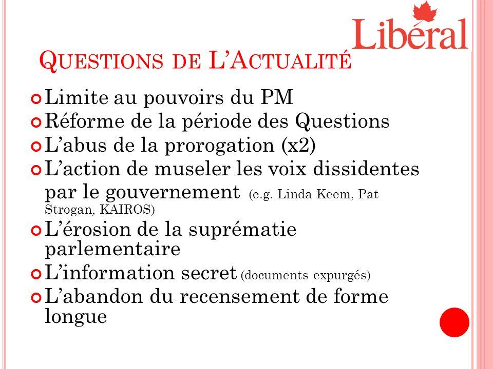 Q UESTIONS DE LA CTUALITÉ Limite au pouvoirs du PM Réforme de la période des Questions Labus de la prorogation (x2) Laction de museler les voix dissidentes par le gouvernement (e.g.